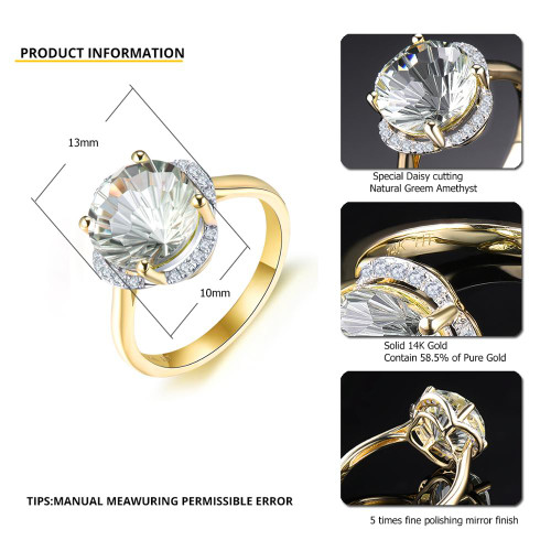 LP Solid 14KY Gold Diamond Ring Natural Green Amethyst 3.76CT Special Daisy cutting Fine Fashion Gemstone Jewelry For WomenGift