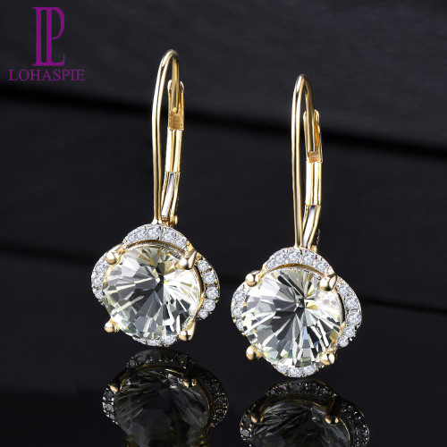 LP Solid 14KY Gold Diamond Earrings Natural Green Amethyst 3.79CT Special Daisy cutting Fine Fashion Gemstone Jewelry For Gift
