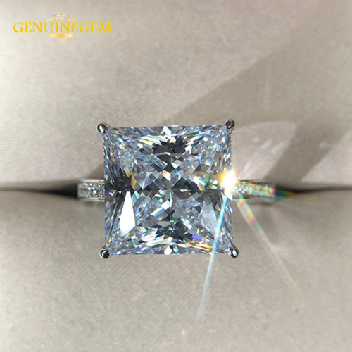 Jewepisode Real Silver 925 Jewelry 12MM Square Created Moissanite Wedding Engagement Rings For Women Party Valentines Ring Gifts
