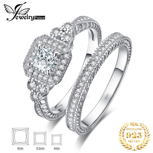 JPalace Princess Vintage Engagement Ring Set 925 Sterling Silver Rings for Women Wedding Rings Bridal Sets Silver 925 Jewelry