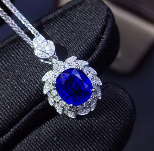 Fine Jewelry Customized Size Real 18K Gold AU750 100% Natural 1.3ct Royal Blue Sapphire Gemstones Pendants for Women Necklace