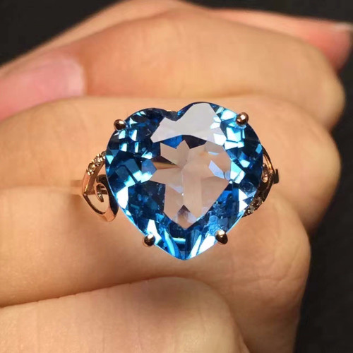 Fine Jewelry Customized Size Real 18K Rose Gold AU750 100% Natural Swiss Blue Topaz Gemstone Female Rings for Women Fine Ring