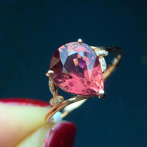 Fine Jewelry Real Pure 18 K Gold AU750 100% Natural Red Tourmaline Gemstone 2.8ct Female Rings Brazil Origin for Women's Gif