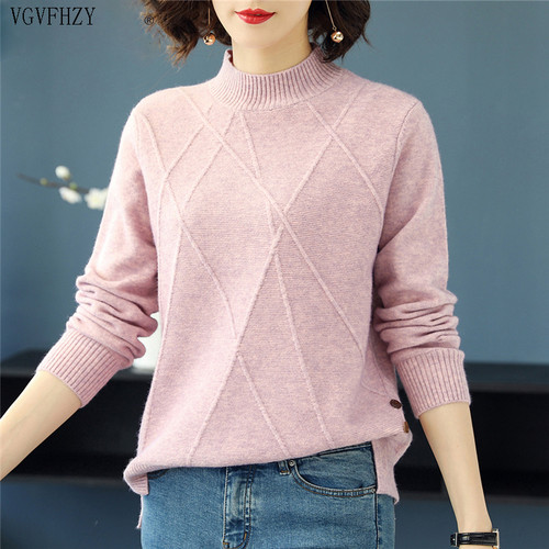 Beautiful Pink Turtleneck Sweater Women 2019 Autumn Winter Long Sleeve Pullover Sweater Female Knitted Tops Jumper Ladies