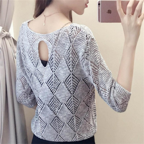 Woman Sweater Autumn And Spring Round Neck Sweater Hollow Thin Women Sweaters And Pullovers Loose Knitted Sweater Women Jumpers