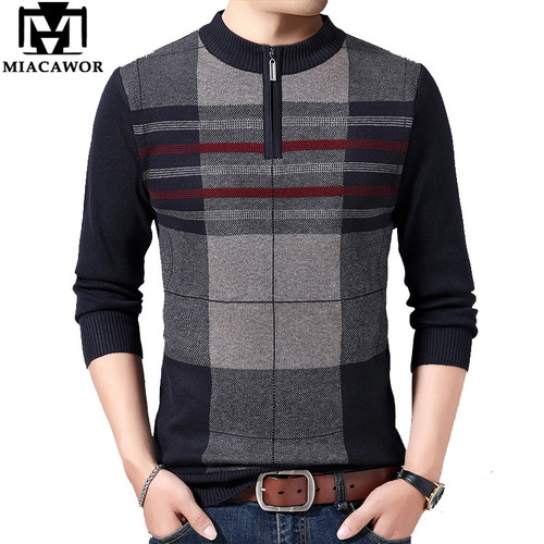 MIACAWOR Winter Men Sweater Casual Pullover Male Warm Wool Sweater Pull Homme Fashion Plaid Knitted Jersey Man Clothes Y180