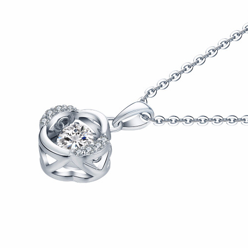 YL Flower 925 Sterling Silver Topaz Necklaces Pendants for Women Fine Jewelry Natural Dancing Topaz Stone for Best Friends Gift