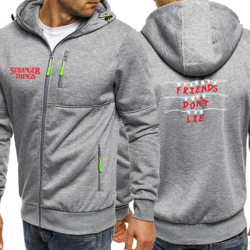 Autumn 2019 Hot Sale Stranger Things Hoody Mens Sweatshirt Long Sleeve Jackets Zipper Casual Coat Fashion Streetwear Hoodies