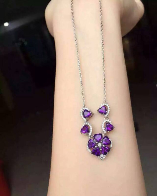 Fidelity natural 5mm purple crystal pendant Necklaces s925 sterling silver flowers fine jewelry for women party natural gemstone