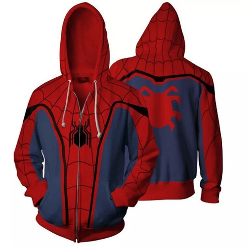 Marvel Spider Man 3D Moving Zipper Hoodies Men Streetwear Hip Hop Warm Hooded Sweatshirts 3D Printed for Kids Boy Winter Soldier