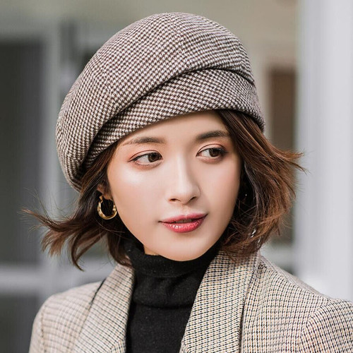 2019 new Elegant Women Plaid Beret For fashion Winter Female Cotton Wool Hats Cap Autumn 2019 Brand New Women's Painter Hat