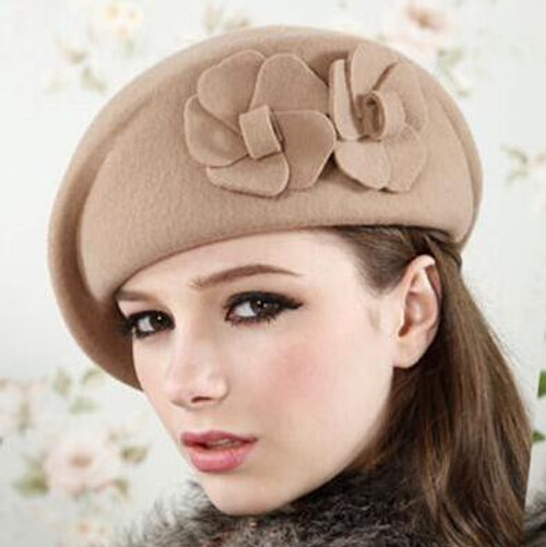 100% wool beret winter berets women winter felt beret Floral Women Felt French Beret Beanie fedora hat Beanie Winter Flower