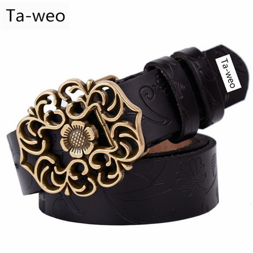 Women Fashion Genuine Leather Belt Cowskin Retro Print Belts Vintage Floral Alloy Slide Buckle Elegant Women Belt