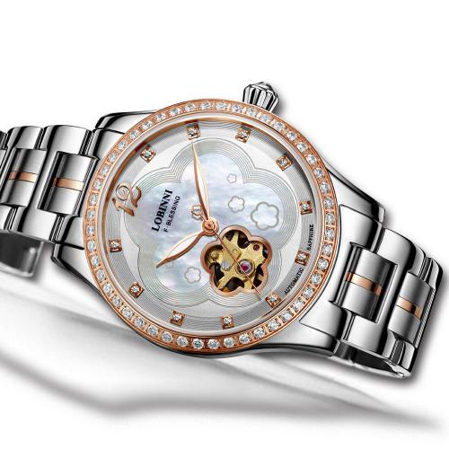 Luxury Switzerland Brand Womens Waterproof Steel Strap Crystal Japan MIYOTA Automatic Mechanical Wrist Watch Female Watches