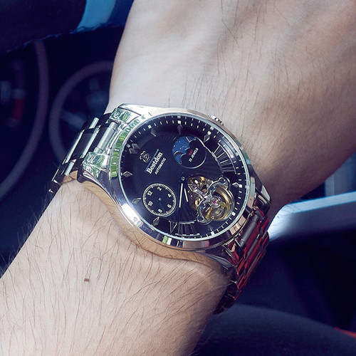 Switzerland Automatic Mechanical Watch Men Bestdon Luxury Brand Tourbillon Watches Full Steel Waterproof Relogio Masculino 7113G