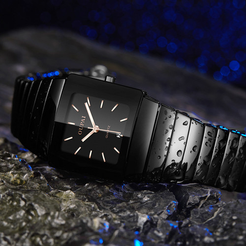 OUPAI Black Ceracmic Rectangle Men Watch with Calendar Business Tonneau Luminous Hands Water Resistant Couple Watch