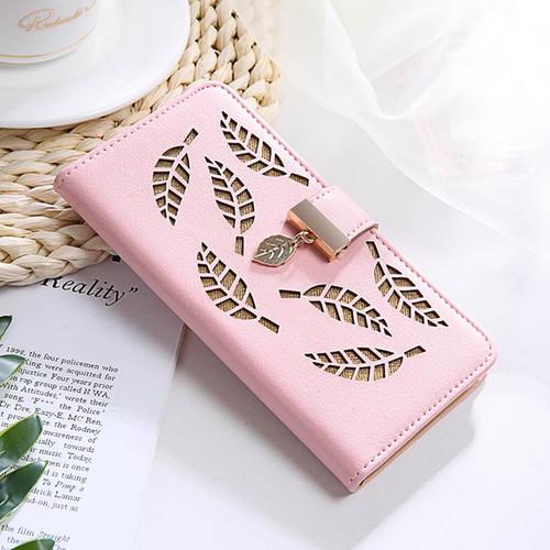 Hollow Leaf Pattern Leather Flip Case For Xiaomi A2 A1 5X 6X A3 Lite Redmi 6 7A K20 Note 4X 5 6 7 8 Pro Wallet Cover Fundas Capa