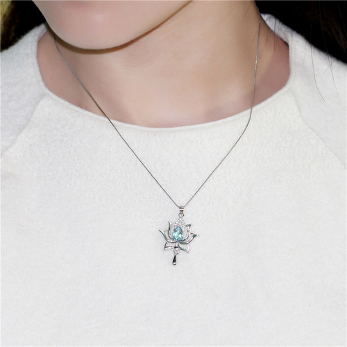 Almei Female 1.2ct Blue Topaz 925 Sterling Silver Lotus Necklaces & Pendants for Women Elegant Dandelion Flower with Box CN055