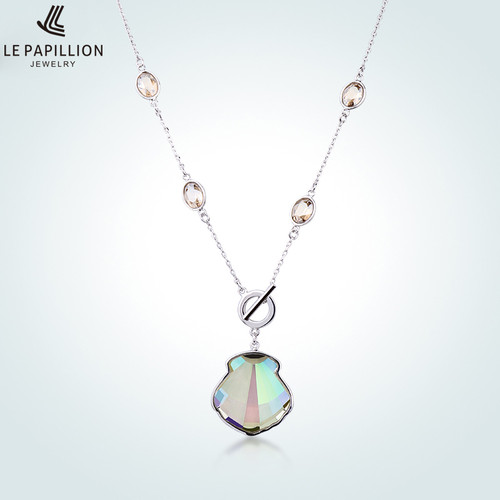 LEPAPILLION 925 Sterling Silver Women Necklace Fine Jewelry Bohemia Style Sapphire Crystal Pendant Necklace Choker for Party