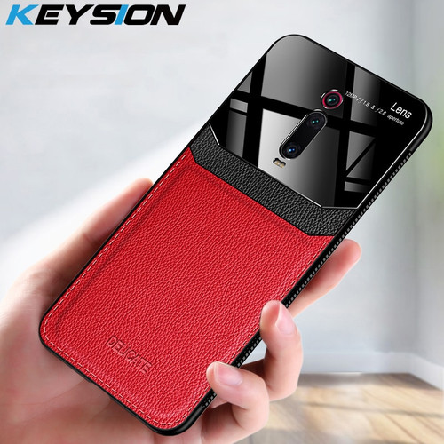 KEYSION Shockproof Case for Xiaomi Mi 9T CC9 Pro 9 SE 8 Lite Leather Mirror Glass Back Cover for Redmi 7 8A Note 8 7 Pro 8T K20