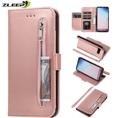 Leather Zipper Flip A70 A50 A40 A30 A20 E A10 M10 Wallet Case For Samaung Galaxy S10 S9 S8 Plus S7 Edge Note 8 9 10 Phone Cover