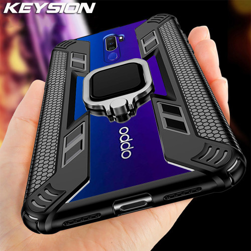 KEYSION Shockproof Armor Case for OPPO A9 2020 A5 2020 A11X Stand Car Magnetic Holder Ring Phone Cover for OPPO F11 F11 Pro Reno