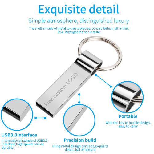 Metal pen drive 64GB memoria gray usb flash drive 8GB 4GB flash usb 2.0 pendrive 16GB 32GB cle usb stick 128GB Free custom logo