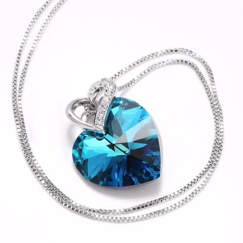 LEPAPILLION 925 Sterling Silver Women Necklace Fine Jewelry Romantic Blue Heart-shaped Crystal Pendant Necklace Choker Collares