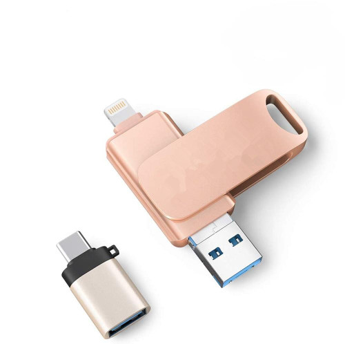 Usb 256GB 3 in 1 USB Flash Drive 128GB for iPhone/PC/Android Series Pen Drive Usb Flash 3.0 Memoria Stick with Typc-C Adapter