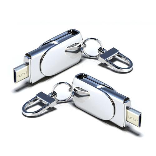 Customized Metal Micro OTG Pendrive 128GB 32GB Micro USB Flash Drive 64GB 8GB 16GB For Android USB Stick With keychain