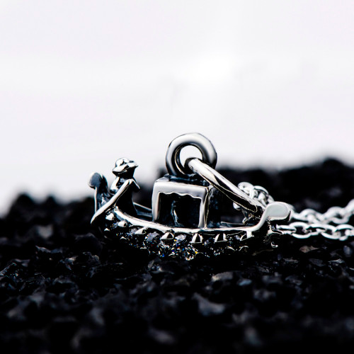 GNX0606 925 Sterling Silver Jewelry Vintage Classic Boat Pendants Necklaces Crystal CZ Necklace Fashion Jewelry For Women