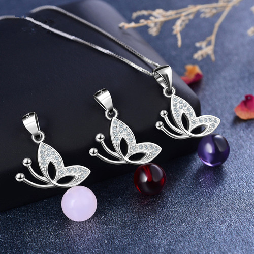 925 Sterling Silver Necklace Bow Crystal Zircon Pendant Necklace Women Jewelry Fashion Collocation