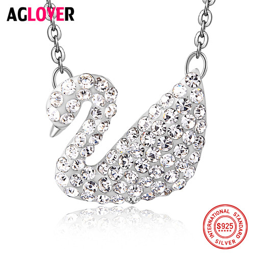AGLOVER 925 Sterling Silver Necklace Woman Charm AAA Crystal Swan Pendant Necklace Female Jewelry
