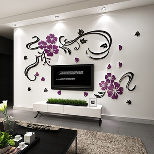 New arrival Flower vine 3d Acrylic crystal wall stickers Bedroom Background DIY Art wall decor sofa wall mirror wall stickers