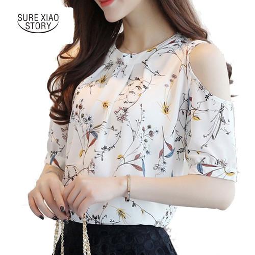 2018 Chiffon Print Blusas Floral Shirt For Womens Elegant Open Shoulder Blouses Women Ete Plus Size Female Tops 825C 30