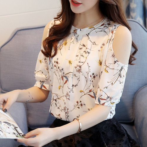 2018 Chiffon Print Blusas Floral Shirt For Womens Elegant Open Shoulder Blouses Women Ete Plus Size Female Tops 825C 30