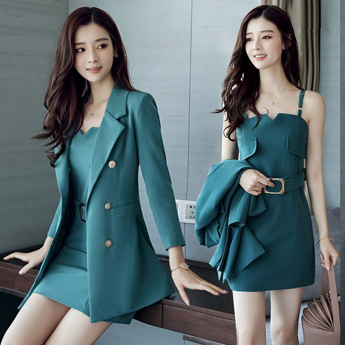 SHERAN 2019 Autumn Business Suit Elegant Office Dress Lady Work 2 Pieces Set Long Sleeve Blazer and Sleeveless Dress Suit Set