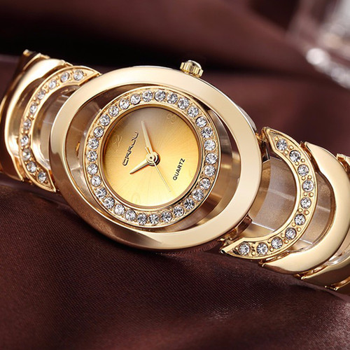 CRRJU Watches Women Top Luxury Brand Crystal Gold Ladies Quartz Wristwatches Bracelet Steel Watch Relogio Feminino Relojes Mujer