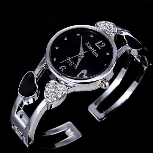 2019 Xinhua Fashion Watches Women Stainless Steel Bracelet Bangle Flower Lover Heart Shape Wristwatches Female Clock Relogios