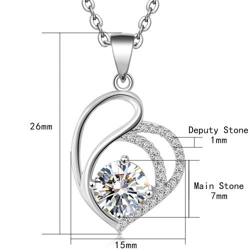 925 Sterling Silver Necklace AAA Zircon Crystal Love Pendant Silver Chain Woman Jewelry Fashion