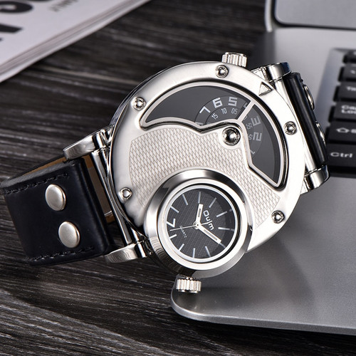 Oulm Watches Unique Design Multipe Time Zone Leather Strap Male Quart Wristwatch Oulm 9591 Fashion Men Watches reloj hombre