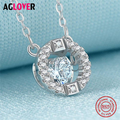 AAA Crystal Necklace 925 Silver Women's Round Pendant Necklace Female Fine Jewelry