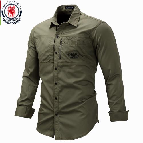 Fredd Marshall 2020Fashion Military Shirt Long Sleeve Multi-pocket Casual Shirts Brand Clothes Army Green Camisa Masculina 117