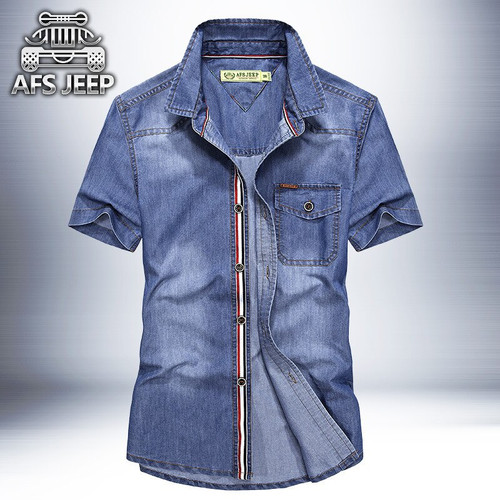 New 2020 Men jeans Shirts Plus size 4XL Original brand AFS JEEP Denim Design Casual Male Summer Cool Clothing