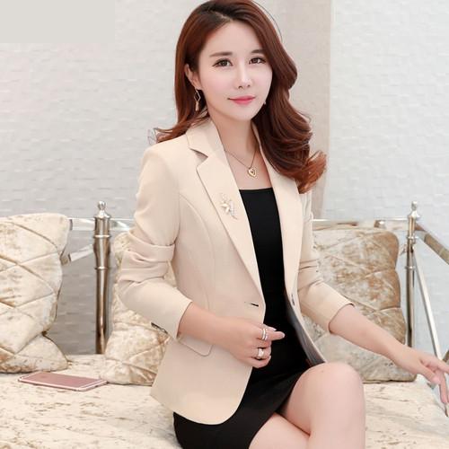 2020 Spring Autumn New Lady Business Office Suit Jacket Slim One button Black Elegant Blazer Short Outerwear Women Casual Tops