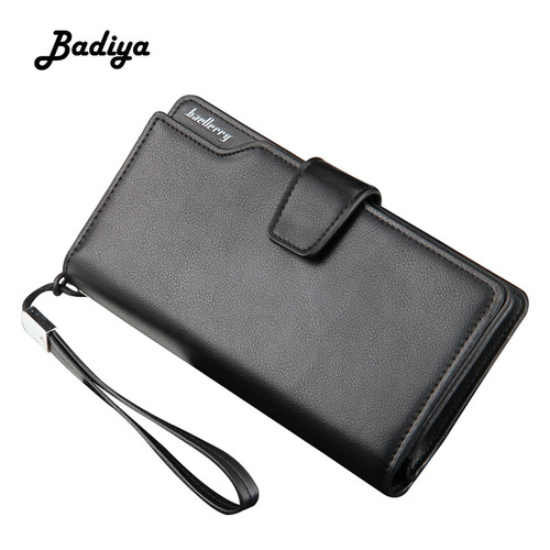 Vintage Leather Men's Wallet Baellerry Brand Long Multi-card Position Card Holder Zipper Cellphone Bag Portable Male Clutch Bag