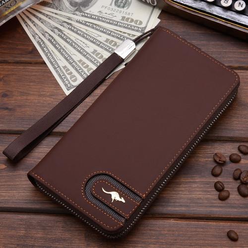 New Men Leather Wallet High Quality Zipper Wallets Men Long Purse Male Clutch Phone Bag Wristlet Coin Purse Card Holder MWS184