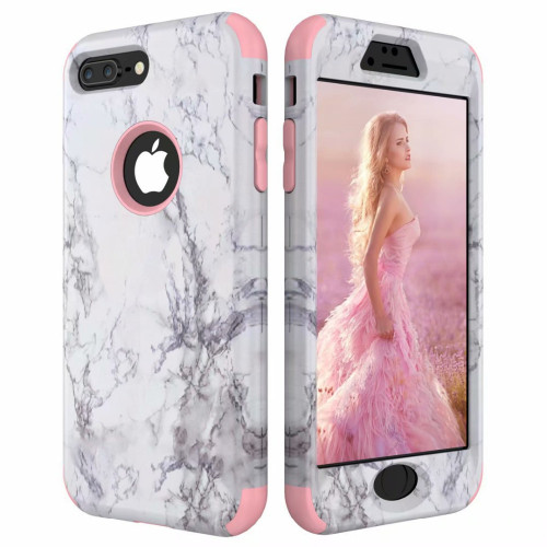 3 in 1 Marble Pattern Bumper 360 Case for iPhone X XS XR XS Max 7 6 6S 8 Plus Hard Back Cover PC Silicone for Galaxy Note 8 9