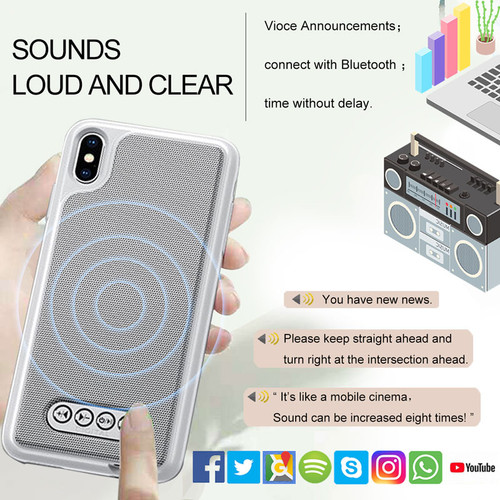 3 in 1 Bluetooth Speaker Phone Case V4.2 Power Bank Phone Case TPU Hard Shell Cover For iPhone 6/6S 7 8 Plus X/XS Max XR