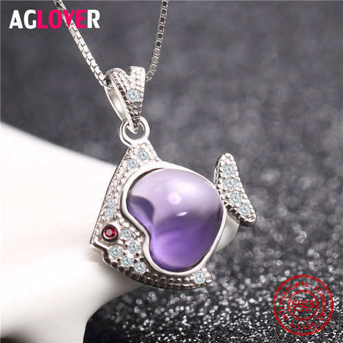 Amethyst 925 Sterling Silver Necklace Inlaid AAA Crystal Woman Fish Pendant Necklace Female Charm Jewelry